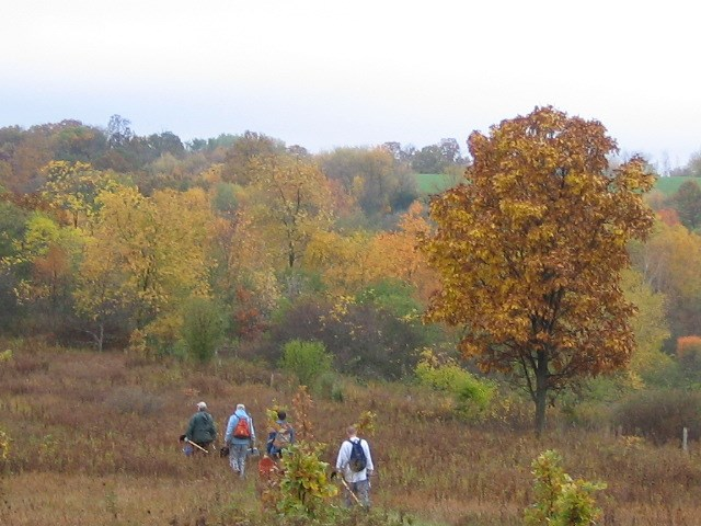 Hikers enjoying a crisp fall day on the Ice Age Trail in Dane County, Wisconsin.