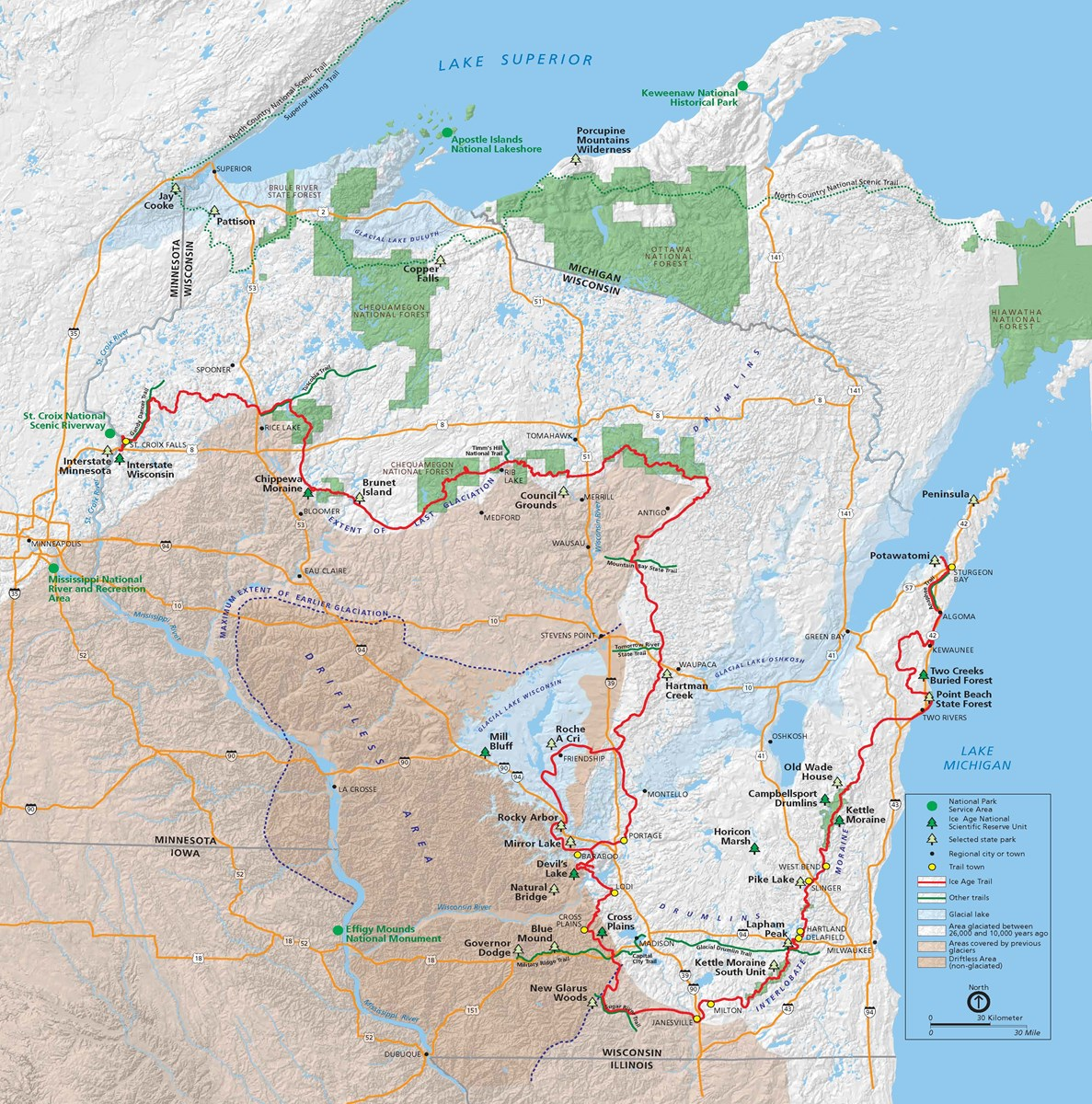 Map of Wisconsin showing the location of existing and future segments of the Trail, major cities and parks.
