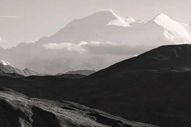 A black and white image of Denali peaks.