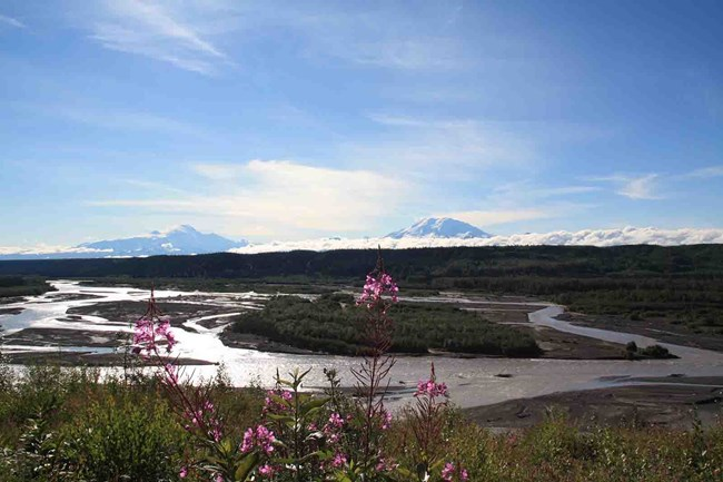 The Copper River and Wrangell Mountains.