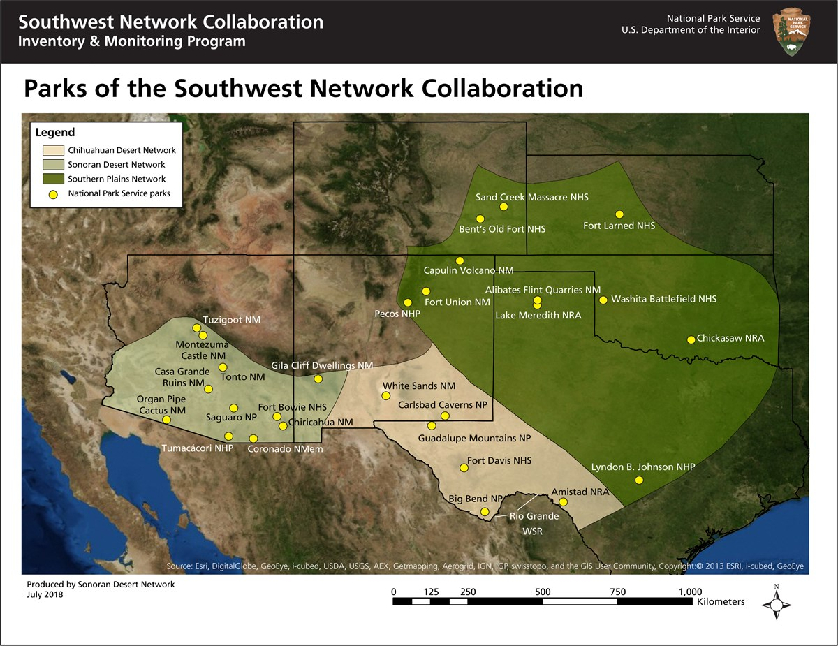 Map of Southwest Network Collaboration parks