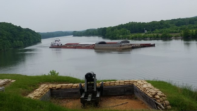 Tug boat and barge on the river at Fort Donelson National Battlefield.