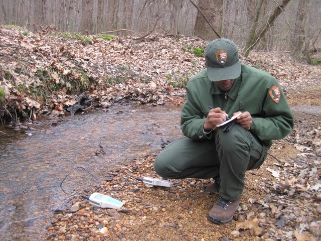 Park staff monitor water quality at Shiloh National Military Park.