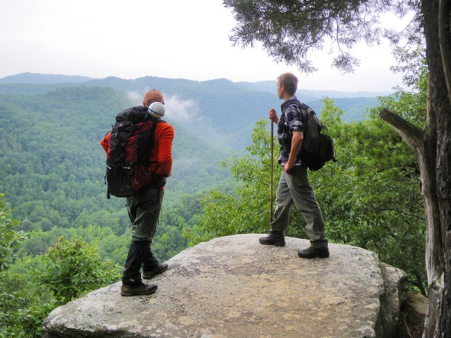 Two people with backpacks looking out over a green, hilly landscape