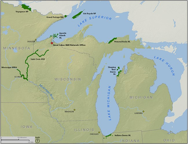 Map showing Great Lakes parks and office
