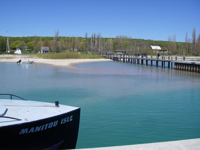 Passengers on the dock at North Manitou Island