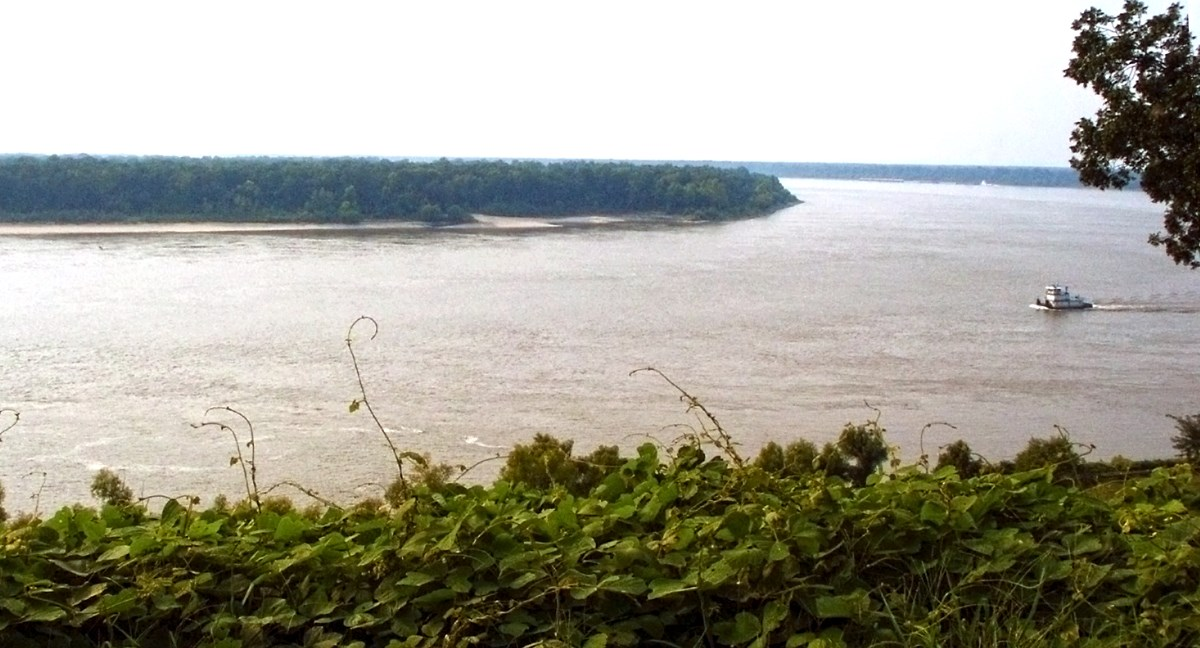 overlooking the Mississippi river, with invasive vine kudzu in the foreground and a boat on the river
