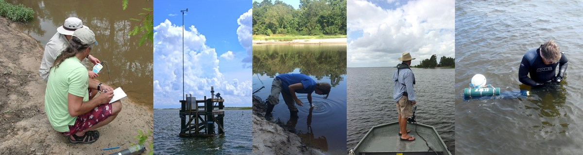 five images showing a range of methods for collecting water quality data