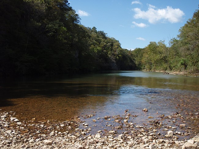 View from gravel bar at Ozark National Scenic Riverways.