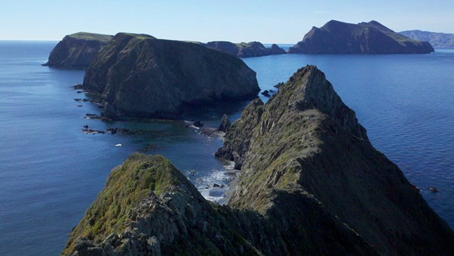 View of small islands adajacent to Anacapa Island taken from a high point