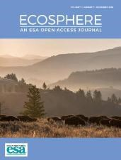 Cover of the Ecosphere journal cover that includes a photo of bison in Yellowstone National Park