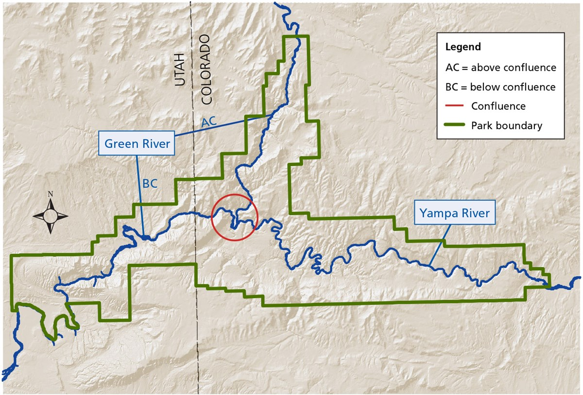 Map showing confluence of Green and Yampa rivers, Dinosaur National Monument