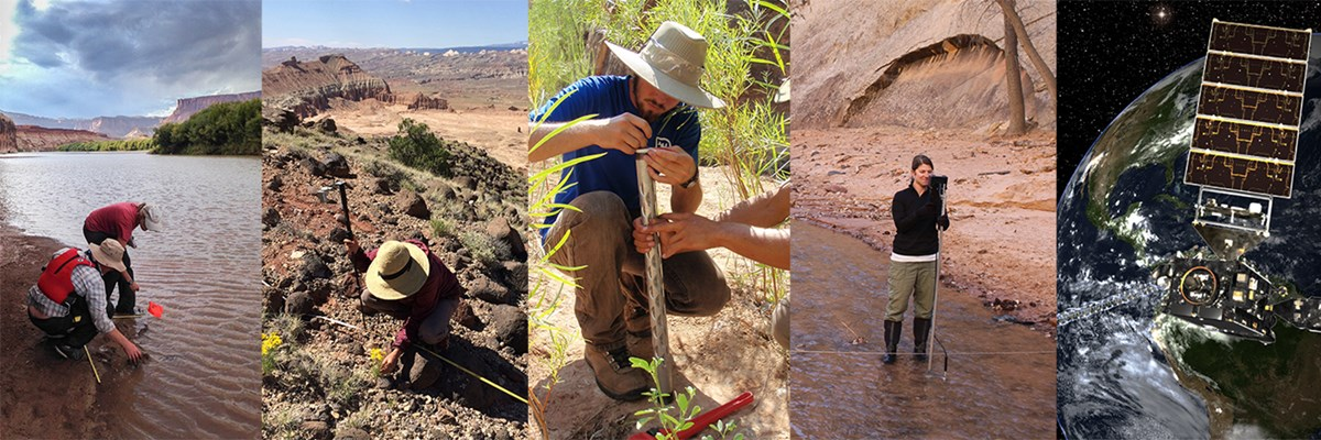 Five photos. One is of a satellite above Earth. The other four show scientists working on land and in water in red-rock landscapes.
