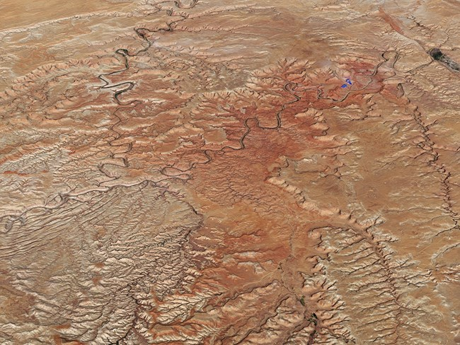 Satellite image of confluence of Green and Colorado rivers, Canyonlands National Park