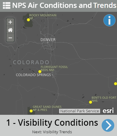 National Air Quality map showing visibility conditions.