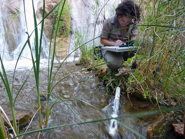 Woman squatting on a grassy bank next to a stream with a waterfall in the background. There is a long, white, cylindrical piece of equipment in the stream. The woman is writing on a clipboard.