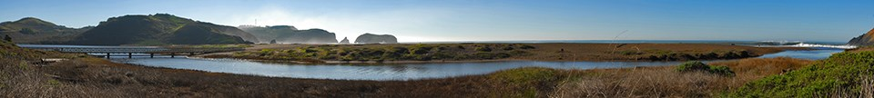 Panorama of Rodeo Lagoon and Beach on a bright, clear day.