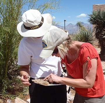 Examining a biocrust sample at the Desert Research Learning Center.