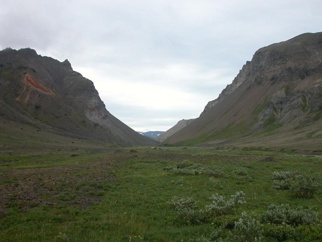 """The Gates"" at Aniakchak in the summer."