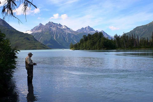 A fisherman on the Crescent River in Lake Clark.