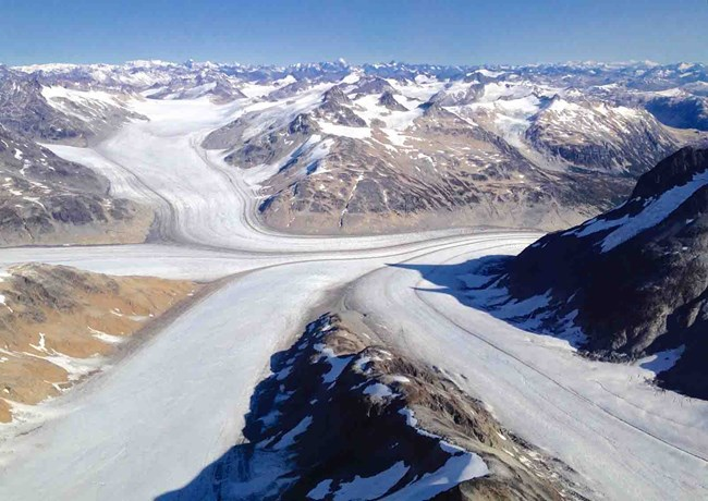 The confluence of four separate glaciers in Lake Clark.