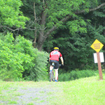 A biker nears the halfway point - mile 15.5