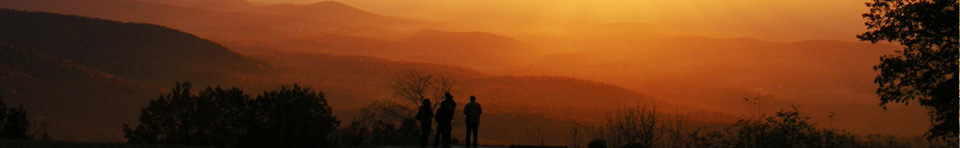 Visitors bask in a golden sunset at Dickey Ridge Visitor Center in Shenandoah National Park