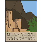 Mesa Verde Foundation logo, title with illustration of cliff dwelling in background