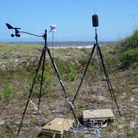 A weather station attached to a tripod stands on a grassy sand dune next to a microphone on a tripod. Ocean and blue sky are in the background.