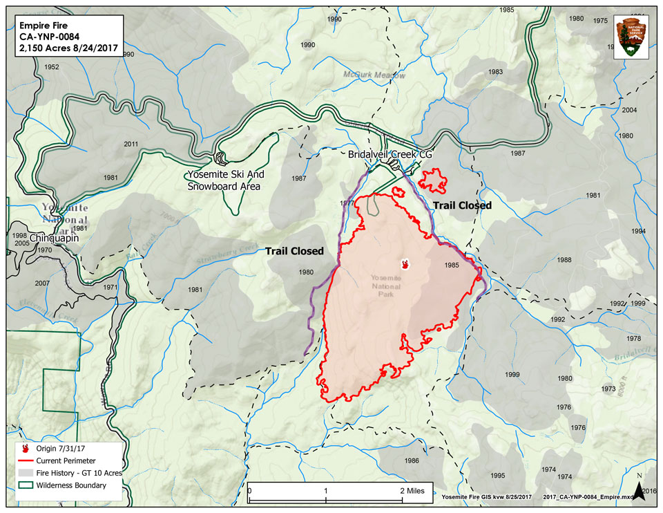 A map illustrating the Empire fire, burning about a mile from Bridalveil Creek Campground.