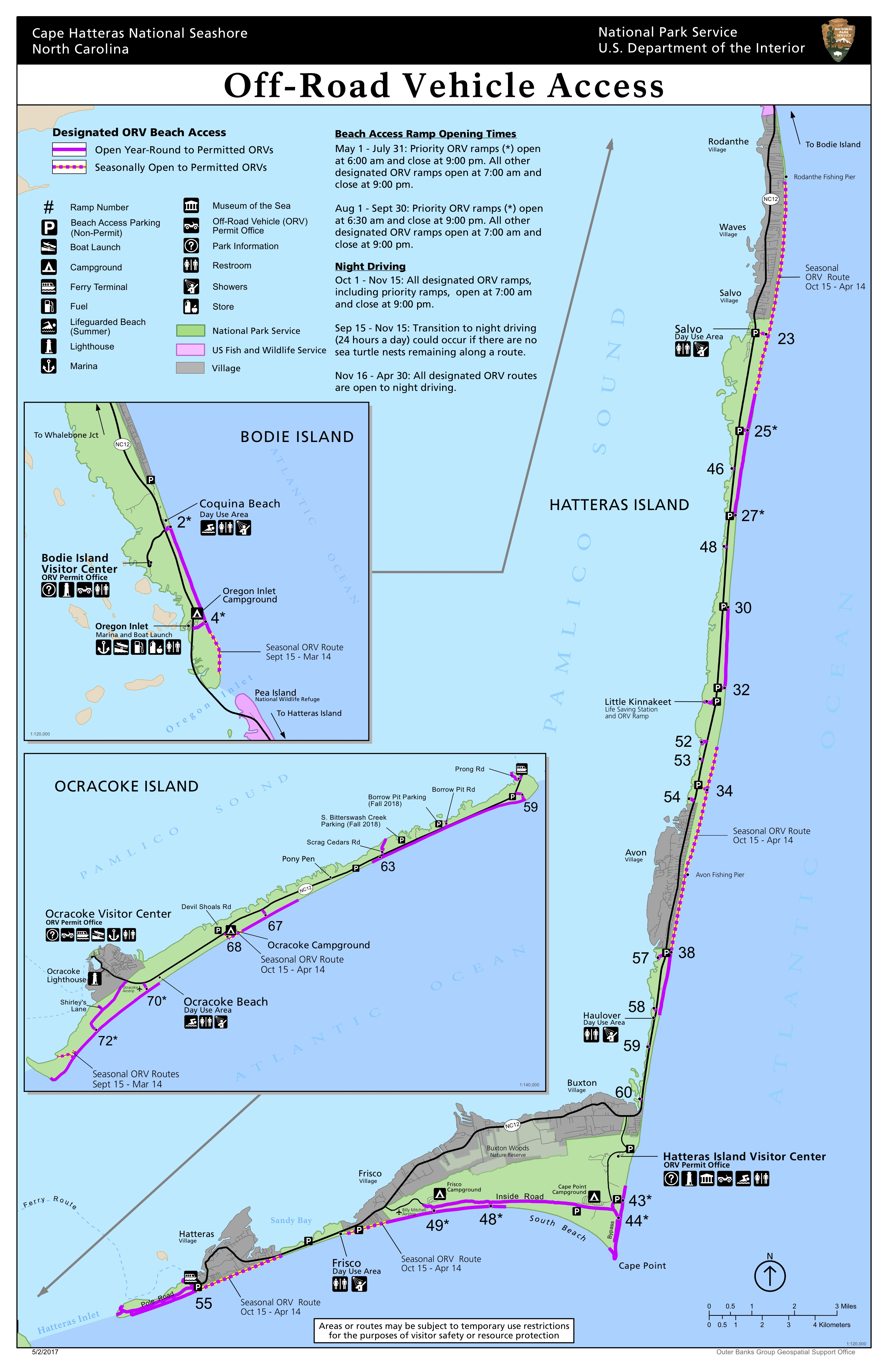 Cape Hatteras National Seashore Off-Road Vehicle Map