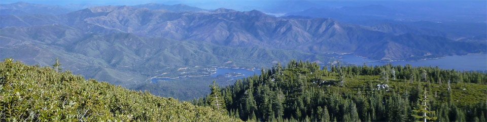 View of Whiskeytown lake and South Fork Mtn. from Shasta Bally Mtn.