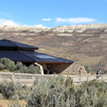 Visitor center with Fossil Butte in the background