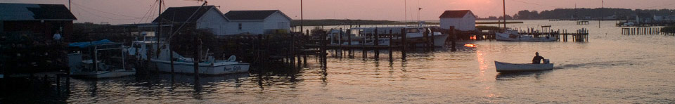 The working watermen community of Tangier Island VA at sunset. Photo by Starke Jett.