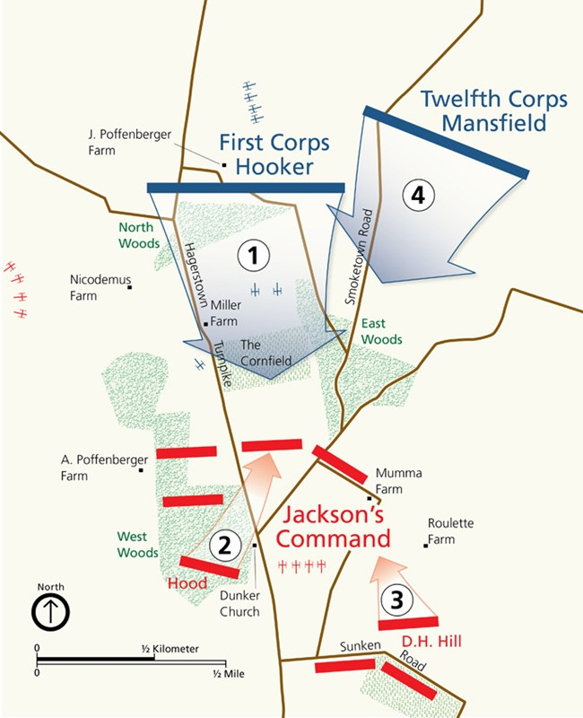 Map of fighting in the Cornfield