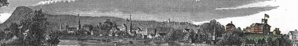 View of Springfield Armory overlooking the city of Springfield, 1855
