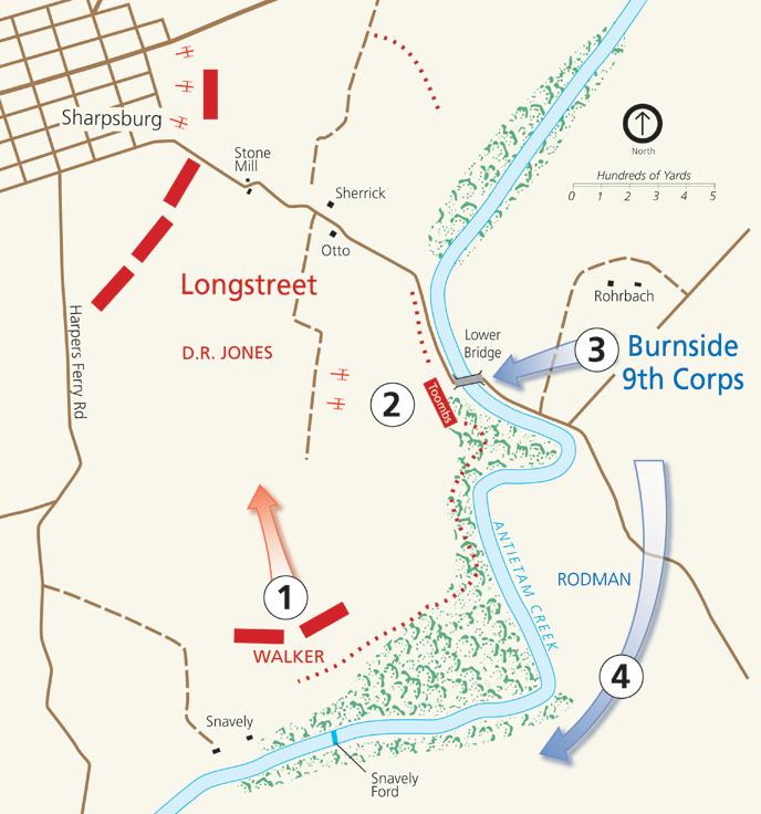 Map Of Fighting At Burnside Bridge