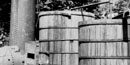 Black & White photo of the 1929 Blue Blazes Whiskey Still that was raided by Deputy Hauver.