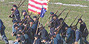 Union soldiers marching during the 2005 battle reenactment