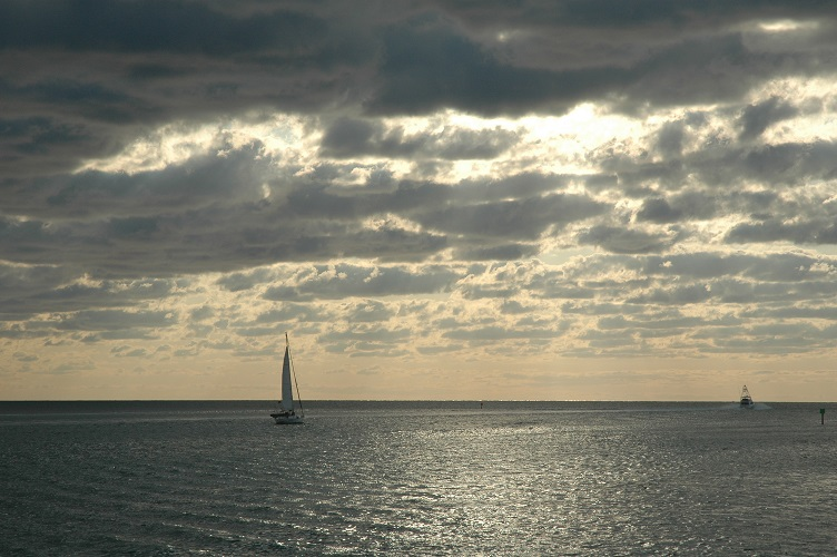 Sailboat heading for open water near Stiltsville