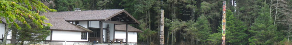 Image of visitor center and totem poles