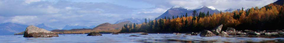 Autumn photo of Lake Clark and the Aleutian Range in Lake Clark National Park & Preserve