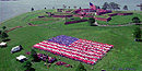 An aerial view of the students forming the Living American Flag.