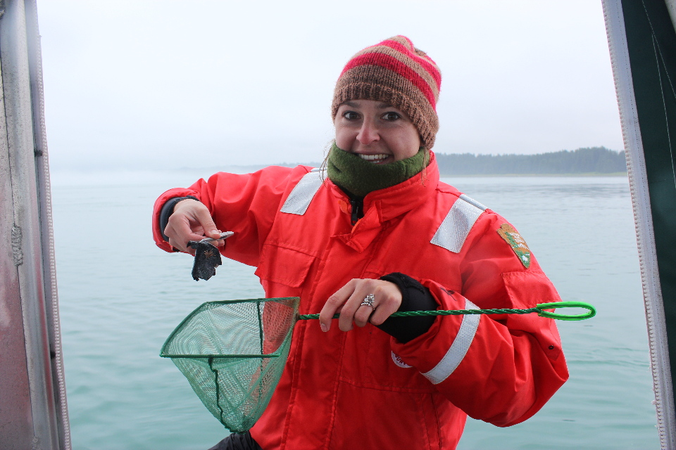 researcher with whale sloughed skin sample