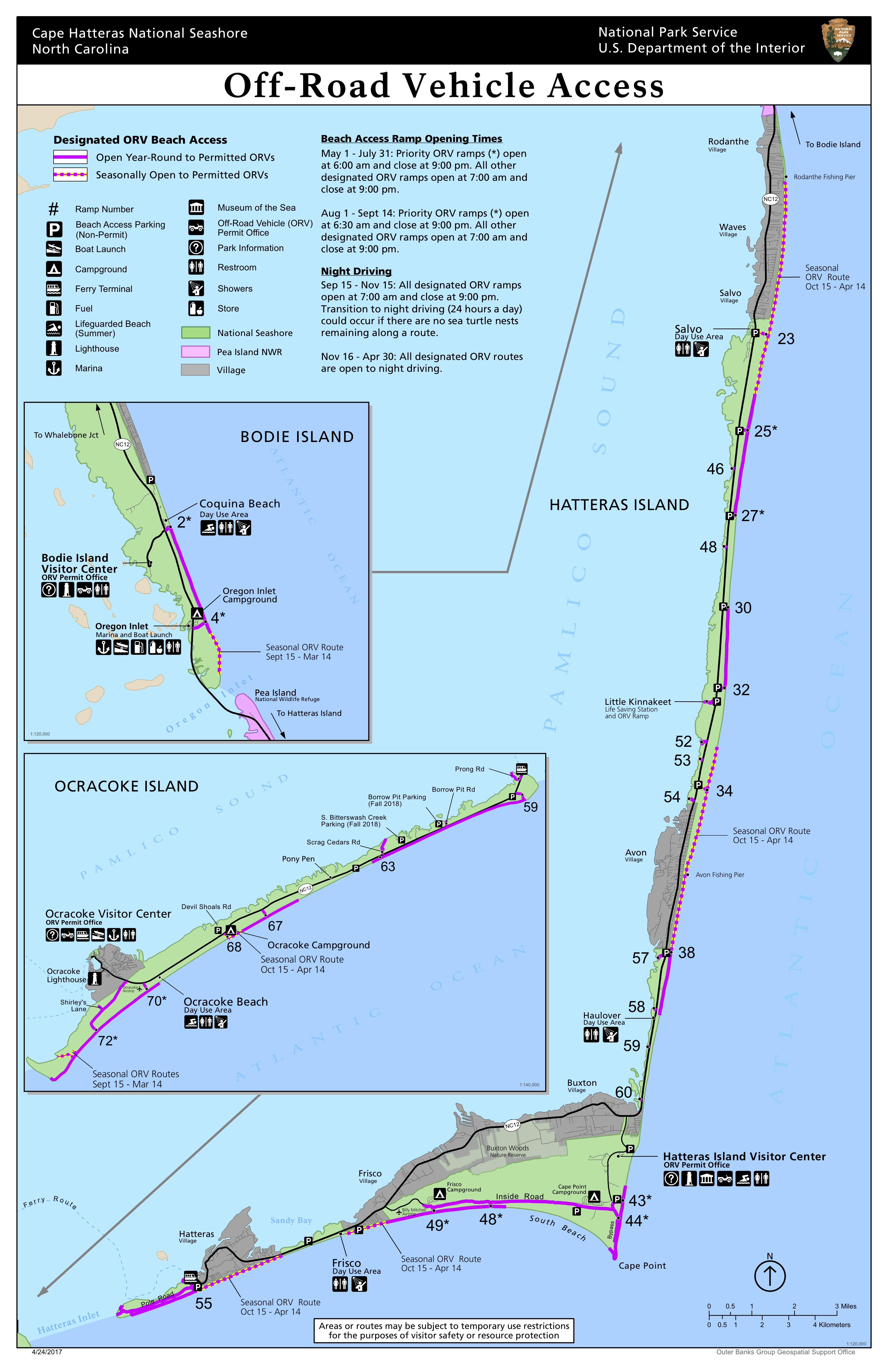 Map of Cape Hatteras National Seashore Off-Road Vehicle Access Routes