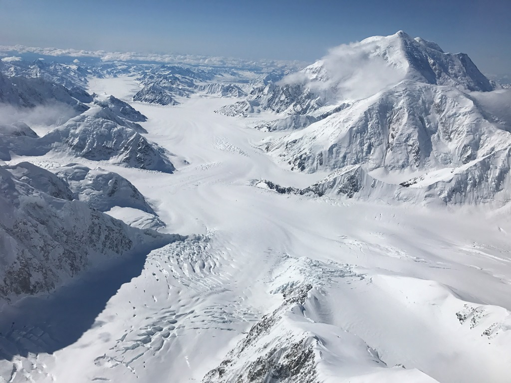 View of Kahiltna Glacier with Mt. Foraker and Mt. Crosson