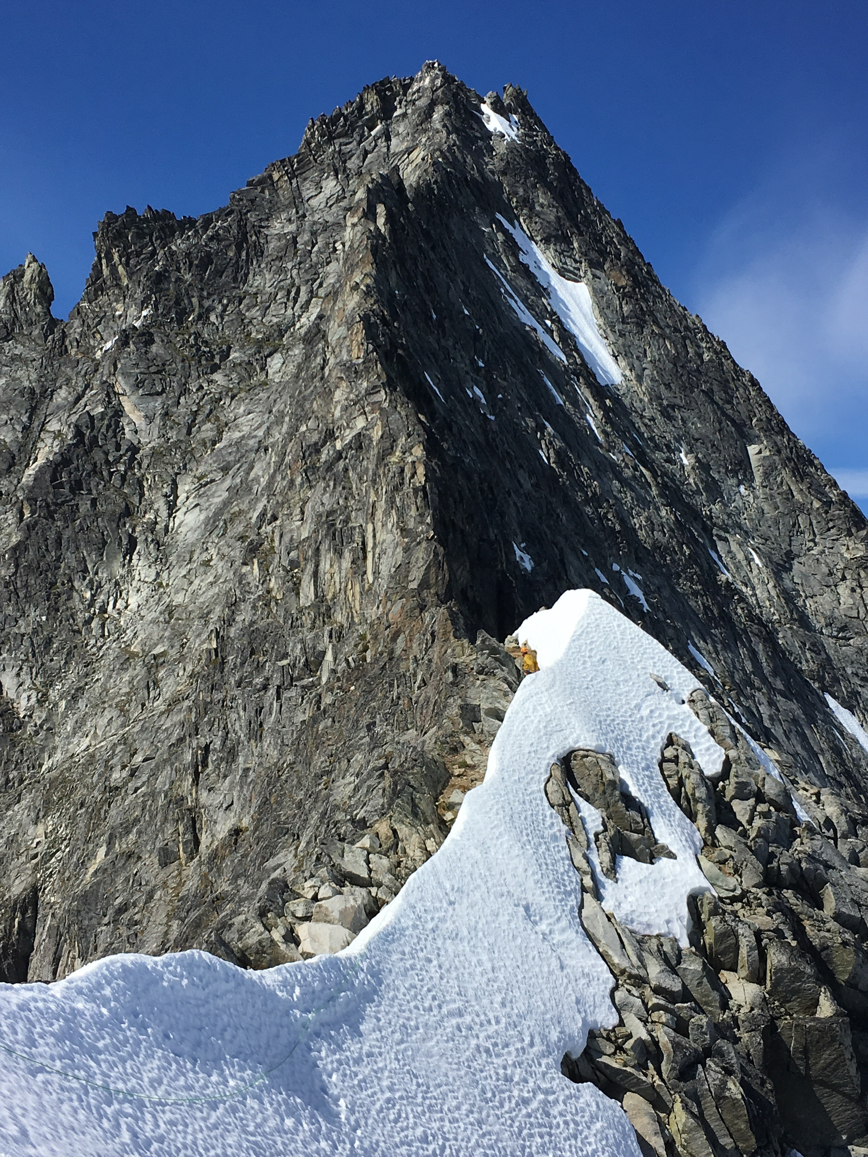 The upper 5 pitches of the North Ridge on Forbidden Peak.