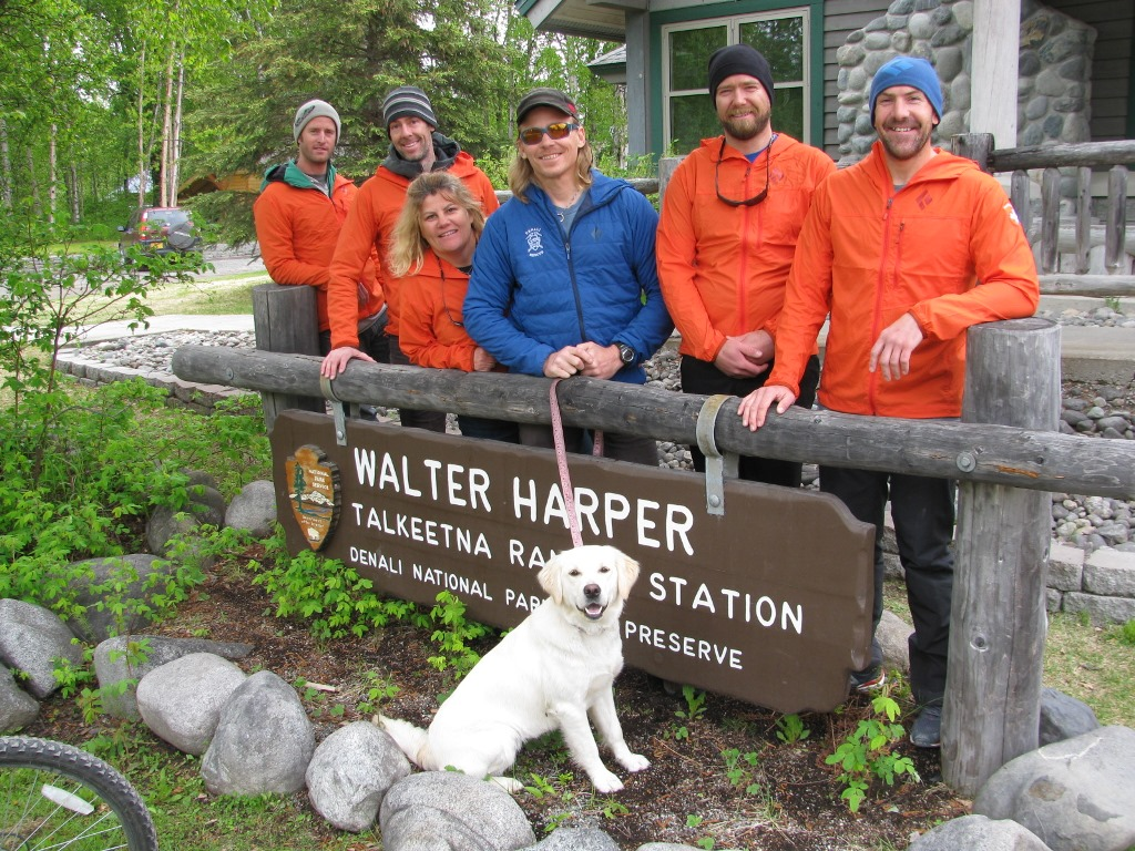 The six members of Patrol #4 pose in front of the Talkeetna Ranger Station