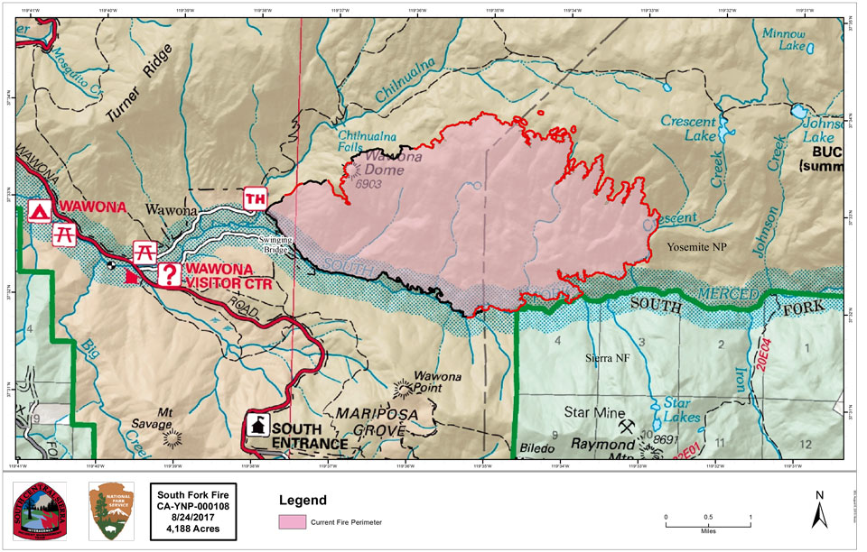 A map illustrating the South Fork Fire, burning east of the community of Wawona.