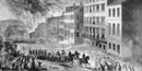 Union troops enter the city of Richmond during the evacuation fire of April 1865.